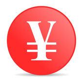 Yen red circle web glossy icon — Stock Photo