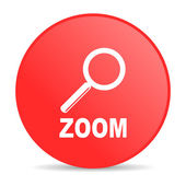 Zoom red circle web glossy icon — Stock Photo