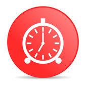 Relógio despertador círculo vermelho web lustrosa ícone — Foto Stock
