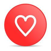Kalp kırmızı daire web parlak simgesi — Stok fotoğraf