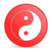 Icono de ying yang círculo rojo web brillante — Foto de Stock