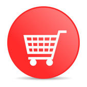 Shopping cart red circle web glossy icon — Stock Photo