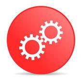 Icono brillante de engranajes círculo rojo web — Foto de Stock