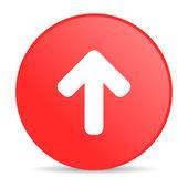 上矢印赤丸 web 光沢のあるアイコン — ストック写真