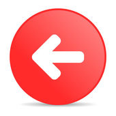 Seta esquerda círculo vermelho web lustrosa ícone — Foto Stock