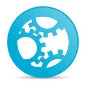 шестерни синий круг веб глянцевой значок — Стоковое фото