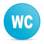 Icono brillante de wc círculo azul web — Foto de Stock