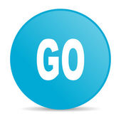 Go blue circle web glossy icon — Stock Photo