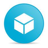 ícone brilhante da web no círculo azul caixa — Foto Stock