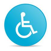 辅助功能蓝色圆圈 web 光泽图标 — 图库照片
