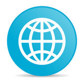 Earth blue circle web glossy icon — Stock Photo