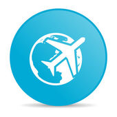 Travel blue circle web glossy icon — Stock Photo
