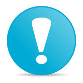 Exclamation sign blue circle web glossy icon — Stock Photo