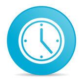 Clock blue circle web glossy icon — Stock Photo