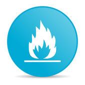 пламя синий круг веб глянцевой значок — Стоковое фото