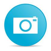 Icono de web brillante cámara círculo azul — Foto de Stock