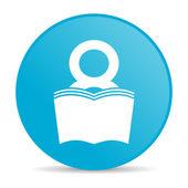 Książki niebieskie koło www błyszczący ikona — Zdjęcie stockowe