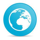земля синего круга веб глянцевой значок — Стоковое фото