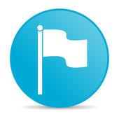 Flag blue circle web glossy icon — Stock Photo