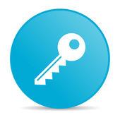 Key blue circle web glossy icon — Stock Photo