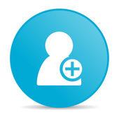 Añadir icono brillante círculo azul contacto web — Foto de Stock