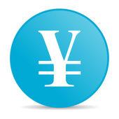 Yen blauwe cirkel web glanzende pictogram — Stockfoto