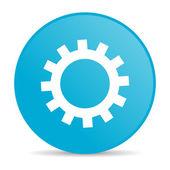 ícone brilhante de engrenagens círculo azul web — Foto Stock