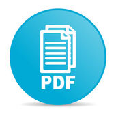 ícone brilhante do pdf círculo azul web — Foto Stock