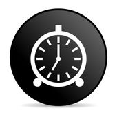 Alarm clock black circle web glossy icon — Stock Photo