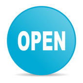 открытый синий круг веб глянцевой значок — Стоковое фото