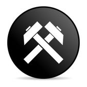 Mining black circle web glossy icon — Stock Photo