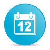Terminarz niebieskie koło www błyszczący ikona — Zdjęcie stockowe