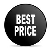 Melhor ícone brilhante círculo preto preço de web — Foto Stock