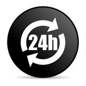 24h black circle web glossy icon — Stock Photo