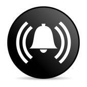 Lesklý ikona alarmu černého kruhu webové — Stock fotografie