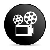 Cinema black circle web glossy icon — Stock Photo