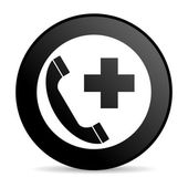 Emergency call black circle web glossy icon — Stock Photo