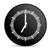 Zegar czarny koło www błyszczący ikona — Zdjęcie stockowe