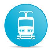 Train blue circle web glossy icon — Stock Photo