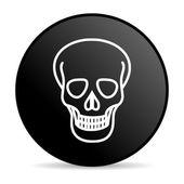 Skull black circle web glossy icon — Stock Photo
