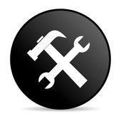 Tools black circle web glossy icon — Stock Photo
