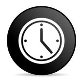 Clock black circle web glossy icon — Stock Photo