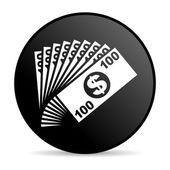 деньги черный круг веб глянцевой значок — Стоковое фото