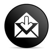 mail black circle web glossy icon — Stok fotoğraf