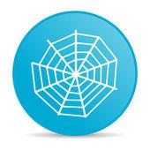 örümcek web mavi daire web parlak simgesi — Stok fotoğraf