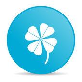 Klavertje vier blauwe cirkel web glanzende pictogram — Stockfoto