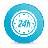 24h blue circle web glossy icon — Stock Photo