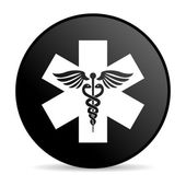 Caduceus black circle web glossy icon — Stock Photo
