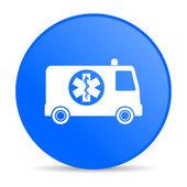 Ambulance blue circle web glossy icon — Stockfoto