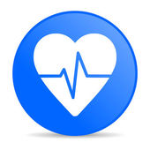 Cardiogram blue circle web glossy icon — Stock Photo